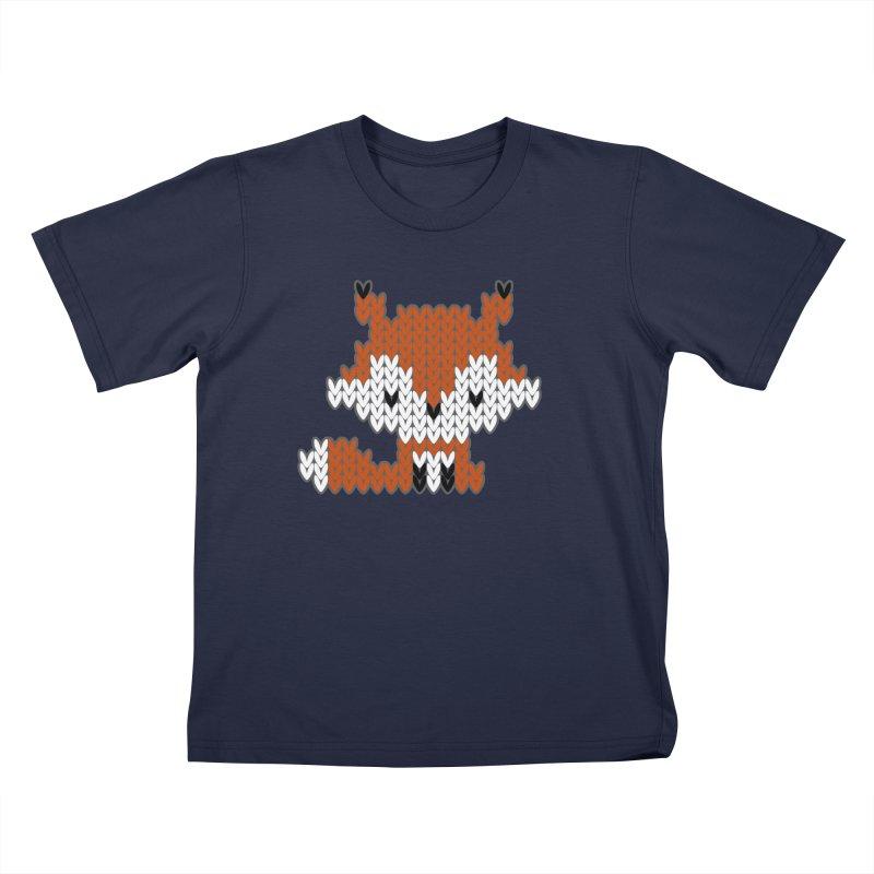 Fair Isle Fox - Green Kids T-Shirt by MiaValdez's Artist Shop