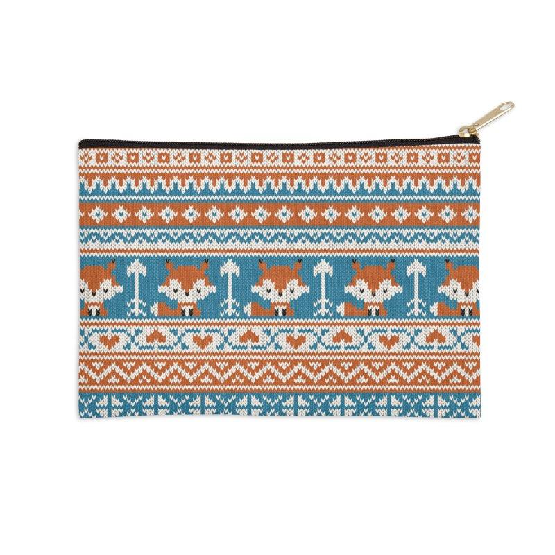 Fair Isle Fox - Blue Accessories Zip Pouch by MiaValdez's Artist Shop