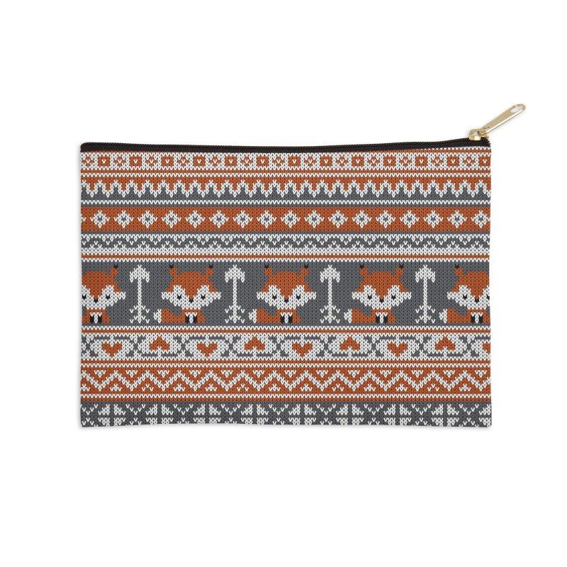 Fair Isle Fox - Gray Accessories Zip Pouch by MiaValdez's Artist Shop