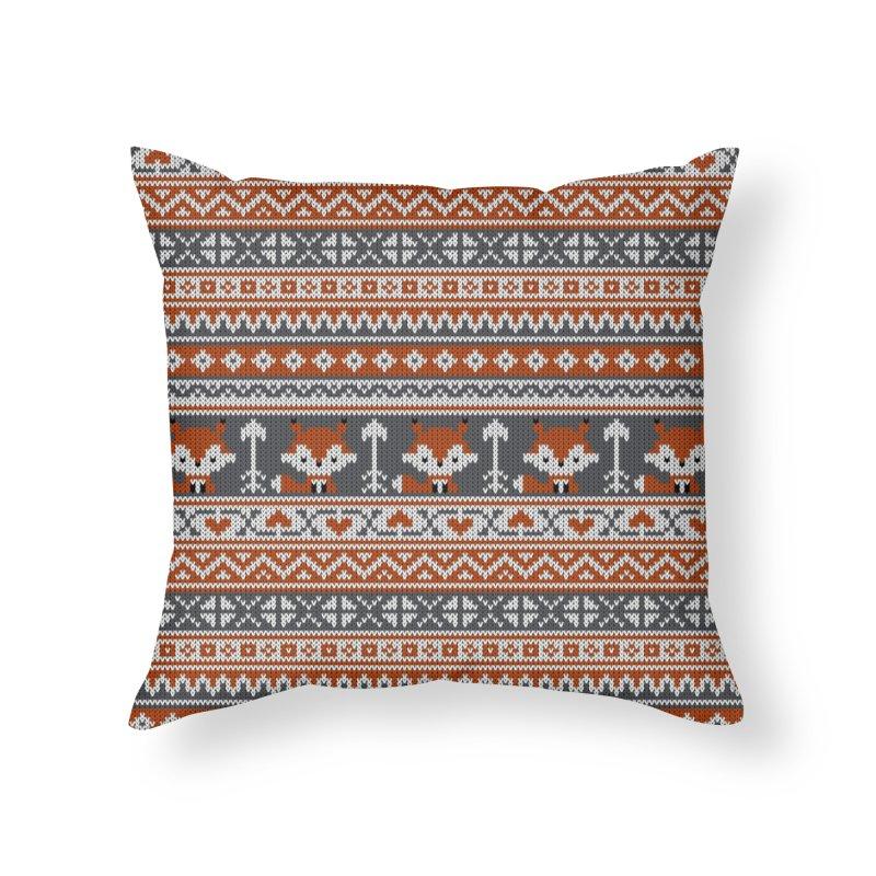 Fair Isle Fox - Gray Home Throw Pillow by MiaValdez's Artist Shop