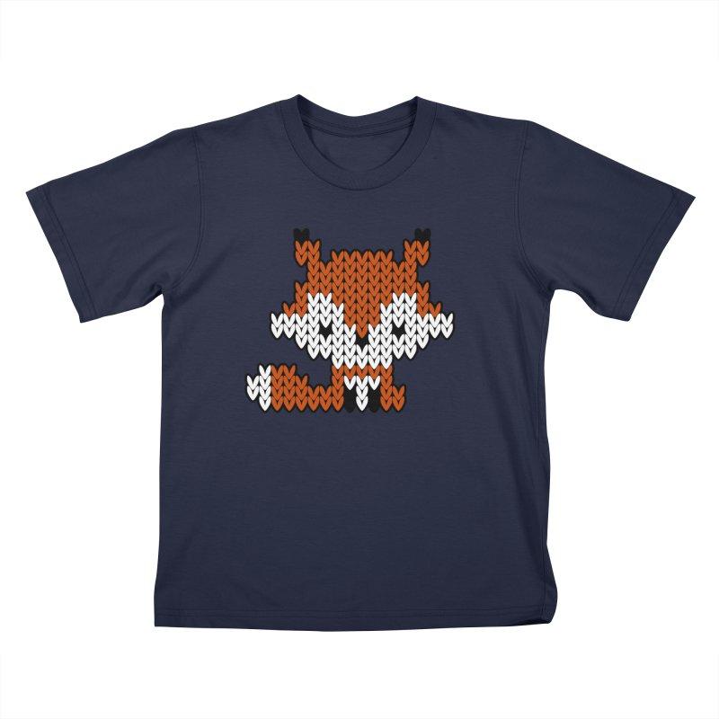 Fair Isle Fox - Gray Kids T-Shirt by MiaValdez's Artist Shop