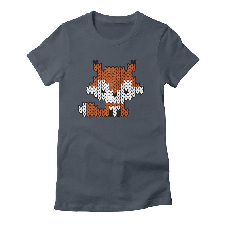 Fair Isle Fox - Gray Women's T-Shirt by MiaValdez's Artist Shop