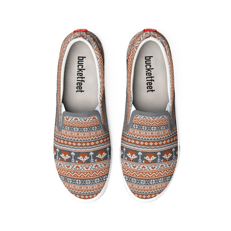 Fair Isle Fox - Gray Women's Shoes by MiaValdez's Artist Shop