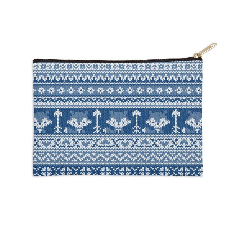 Fair Isle Fox Blue - White Accessories Zip Pouch by MiaValdez's Artist Shop