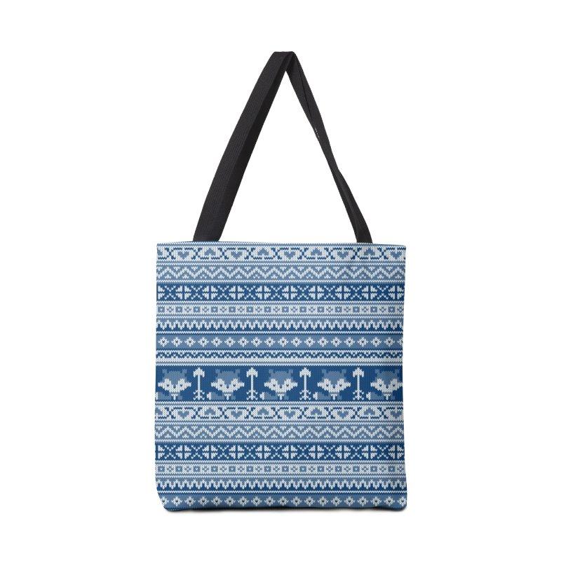 Fair Isle Fox Blue - White Accessories Bag by MiaValdez's Artist Shop