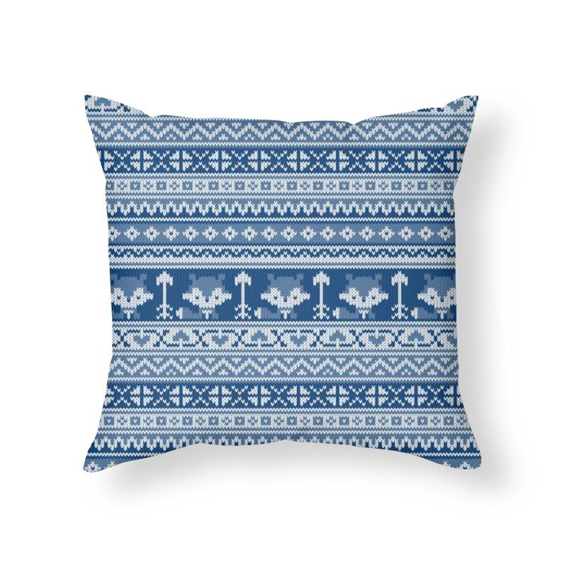 Fair Isle Fox Blue - White Home Throw Pillow by MiaValdez's Artist Shop