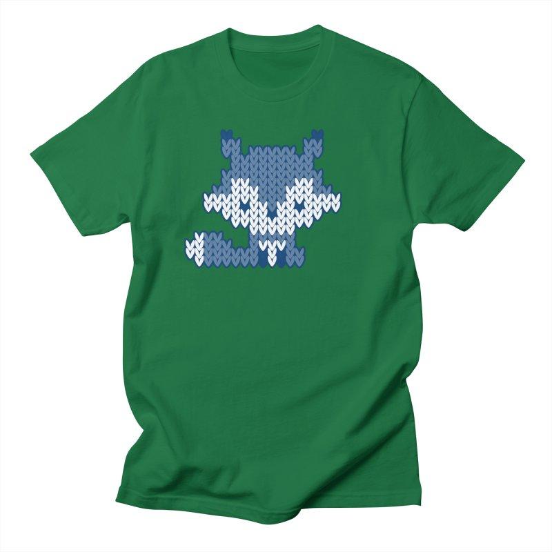 Fair Isle Fox Blue - White Men's T-Shirt by MiaValdez's Artist Shop
