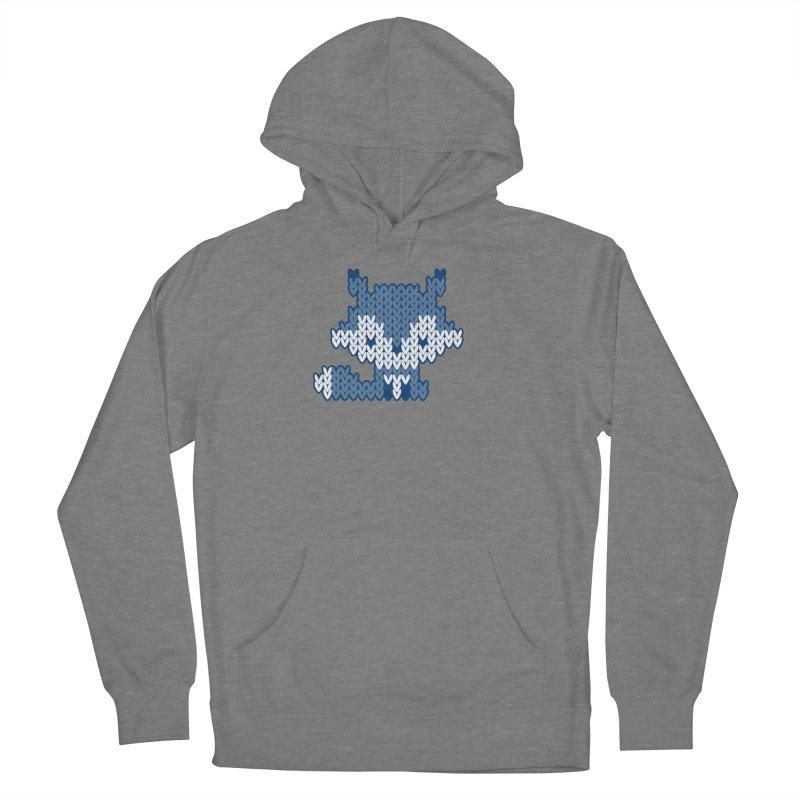 Fair Isle Fox Blue - White Women's Pullover Hoody by MiaValdez's Artist Shop