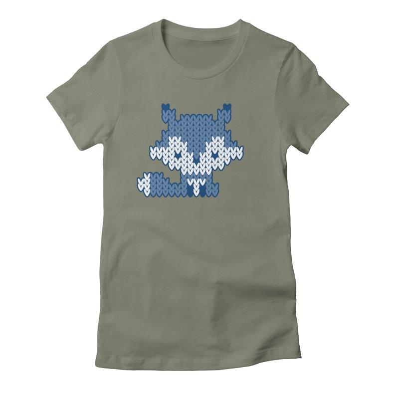 Fair Isle Fox Blue - White Women's T-Shirt by MiaValdez's Artist Shop
