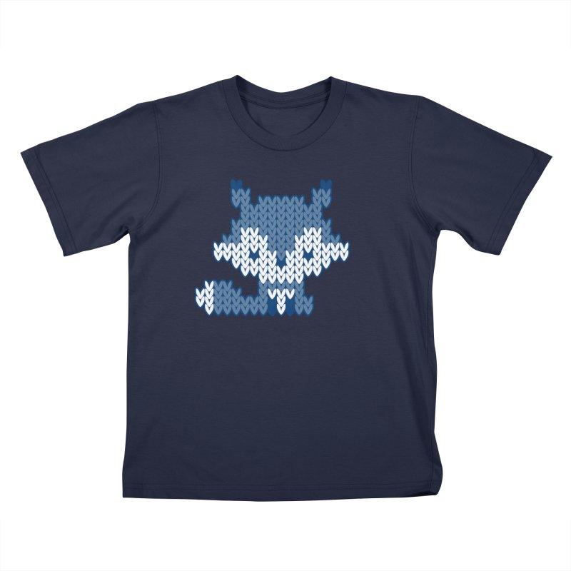 Fair Isle Fox Blue - White Kids T-Shirt by MiaValdez's Artist Shop