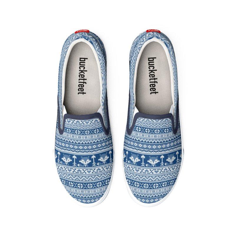 Fair Isle Fox Blue - White Women's Shoes by MiaValdez's Artist Shop