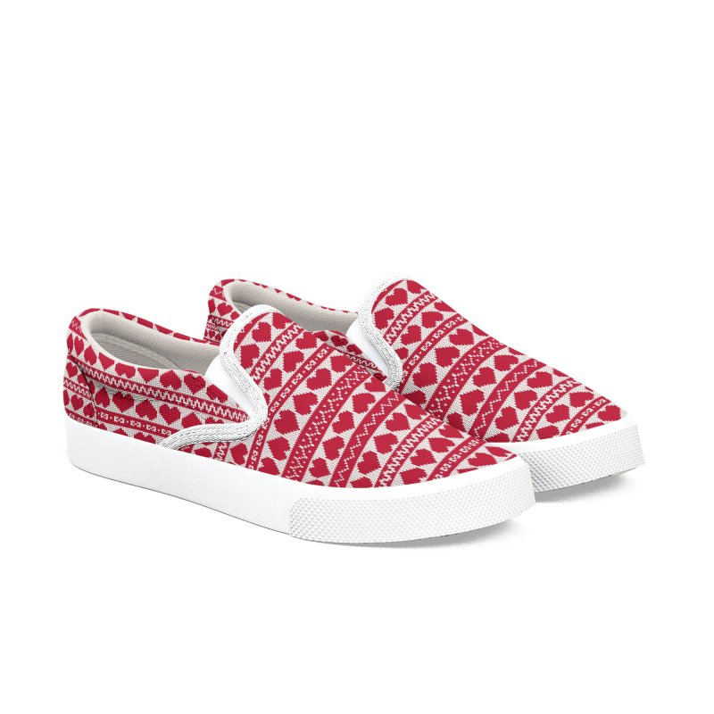 Fair Isle Valentines's Day Women's Slip-On Shoes by MiaValdez's Artist Shop