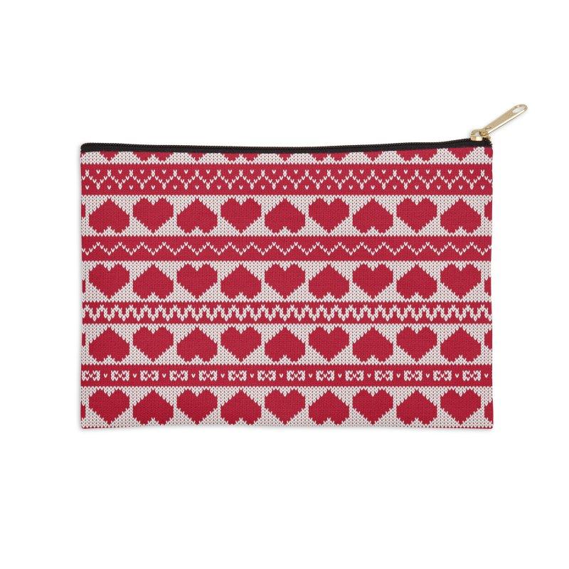 Fair Isle Valentines's Day Accessories Zip Pouch by MiaValdez's Artist Shop