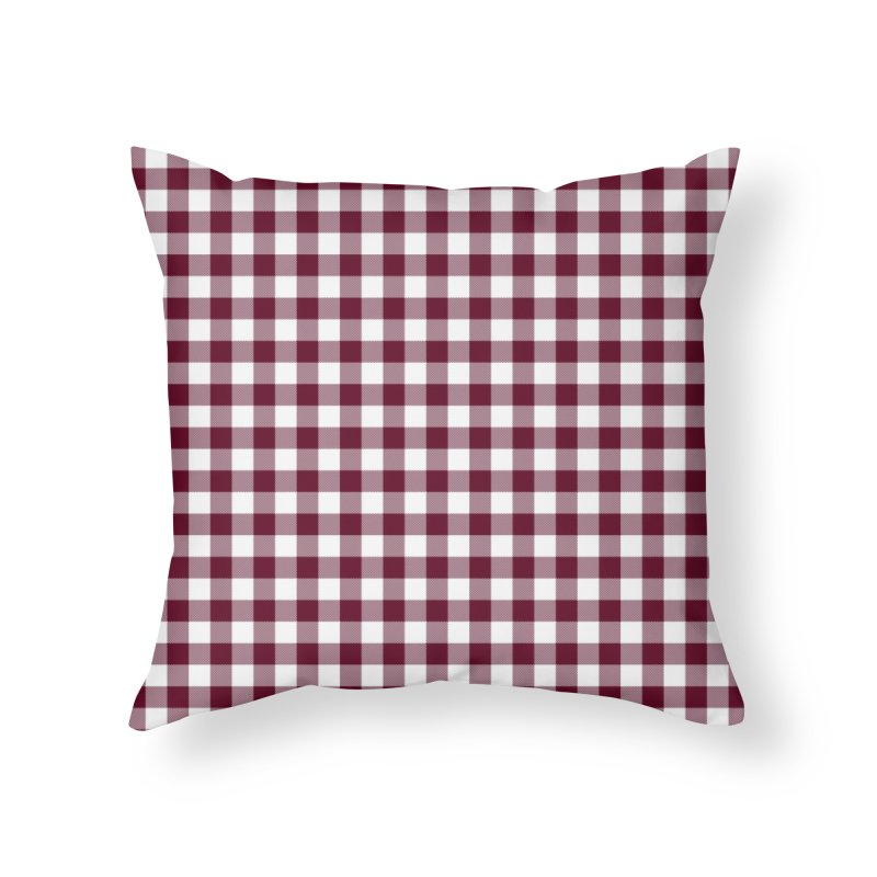 Gingham Wine Home Throw Pillow by MiaValdez's Artist Shop