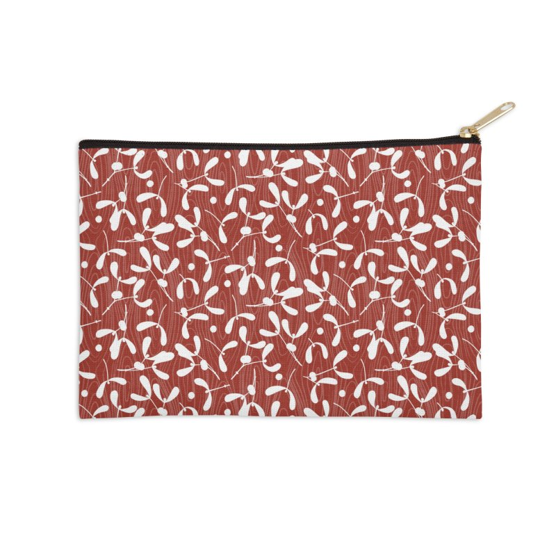 Rustic Mistletoe - Red Accessories Zip Pouch by MiaValdez's Artist Shop