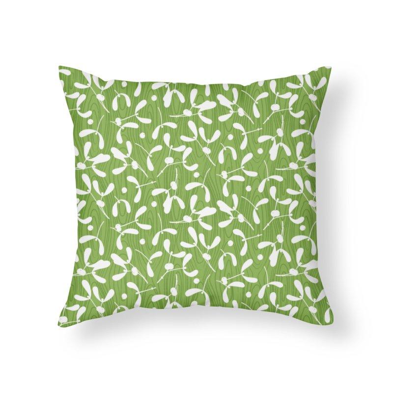 Rustic Mistletoe - Greenery Home Throw Pillow by MiaValdez's Artist Shop