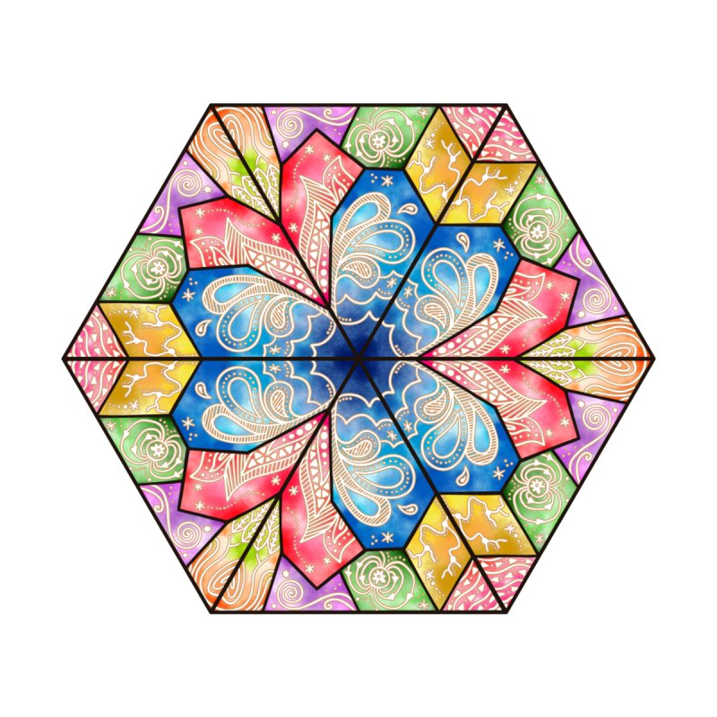 7 Elements - Stained Glass Accessories Zip Pouch by MiaValdez's Artist Shop