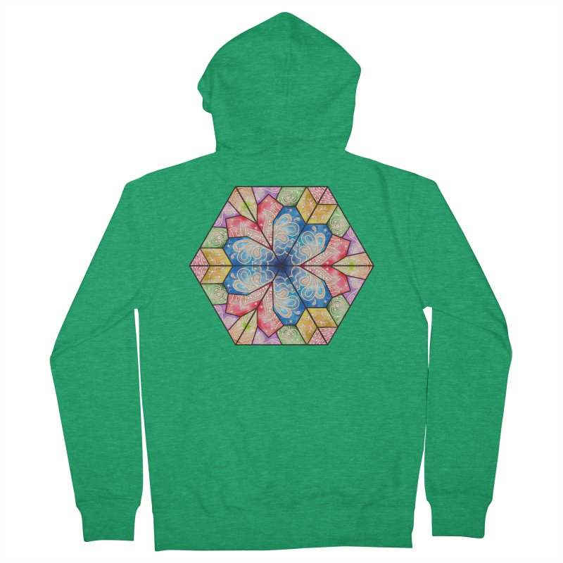 7 Elements - Stained Glass Women's Zip-Up Hoody by MiaValdez's Artist Shop