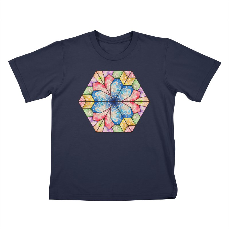 7 Elements - Stained Glass Kids T-Shirt by MiaValdez's Artist Shop