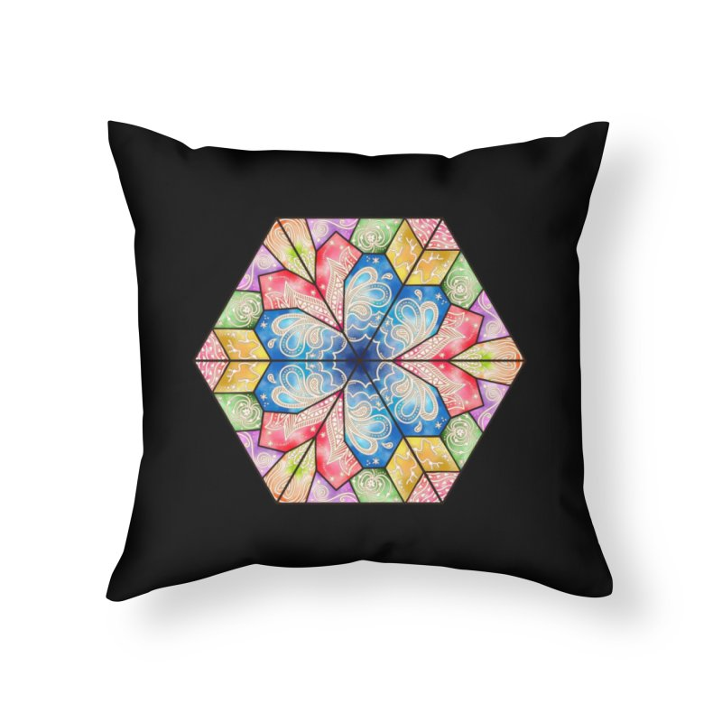7 Elements - Stained Glass Home Throw Pillow by MiaValdez's Artist Shop