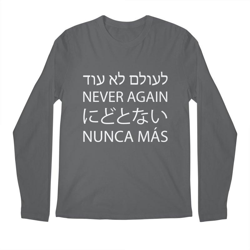 NEVER AGAIN - white text Men's Regular Longsleeve T-Shirt by MicheleJaquis's Artist Shop