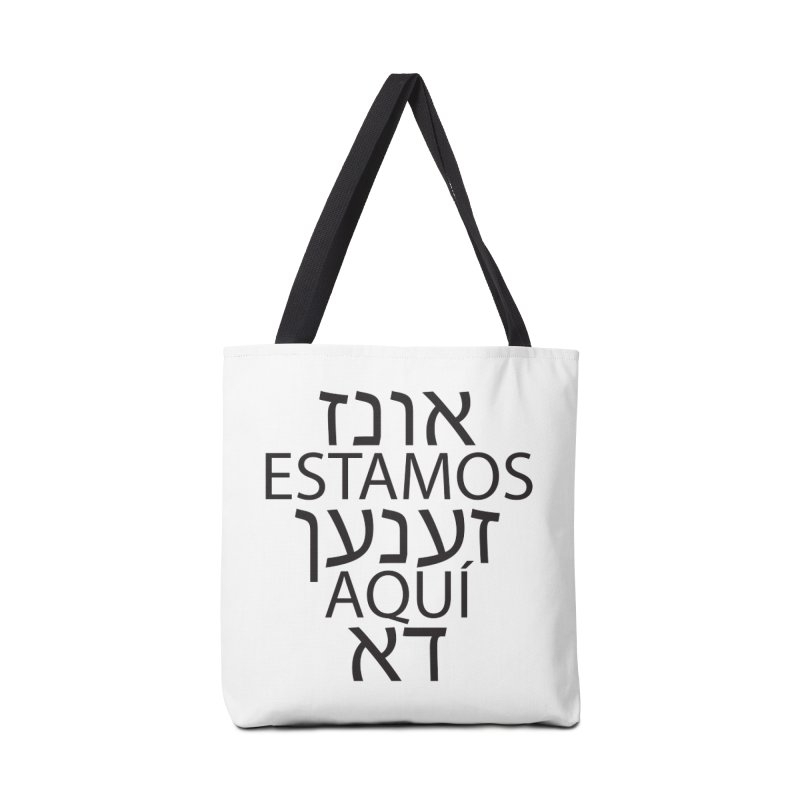 WE ARE HERE - black text Accessories Tote Bag Bag by MicheleJaquis's Artist Shop