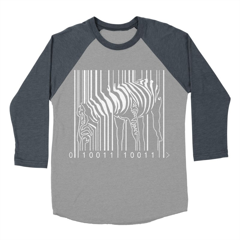 Zebra Barcode Women's Baseball Triblend T-Shirt by Mike's Artist Shop