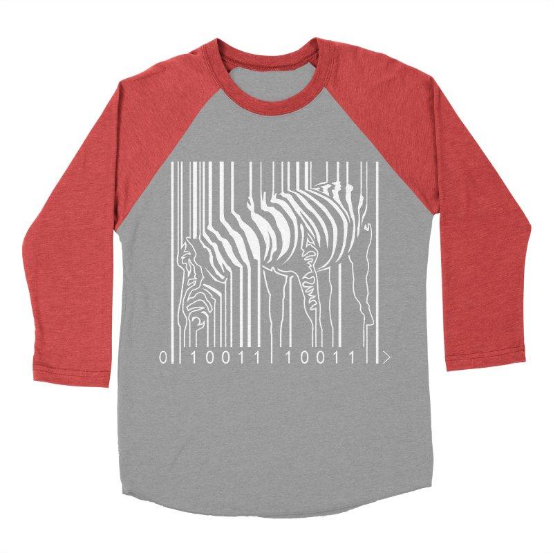 Zebra Barcode Men's Baseball Triblend T-Shirt by Mike's Artist Shop