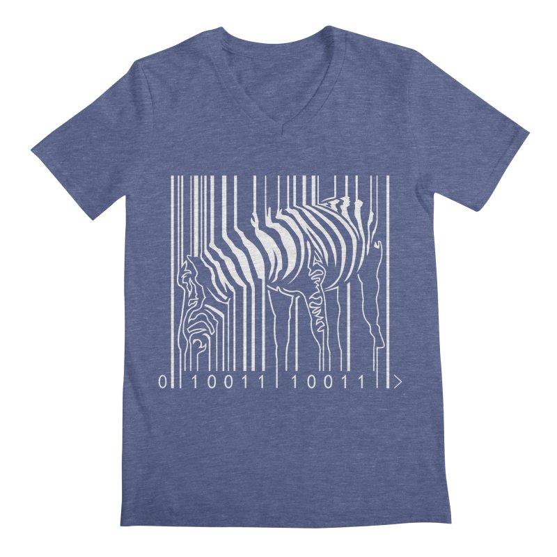 Zebra Barcode Men's V-Neck by Mike's Artist Shop