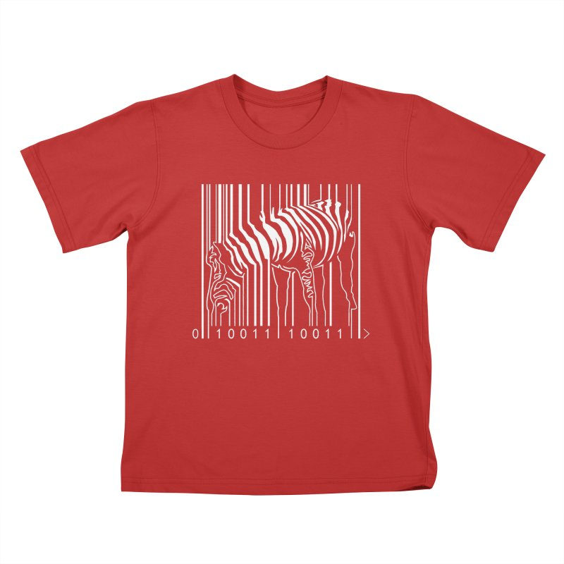 Zebra Barcode Kids T-shirt by Mike's Artist Shop