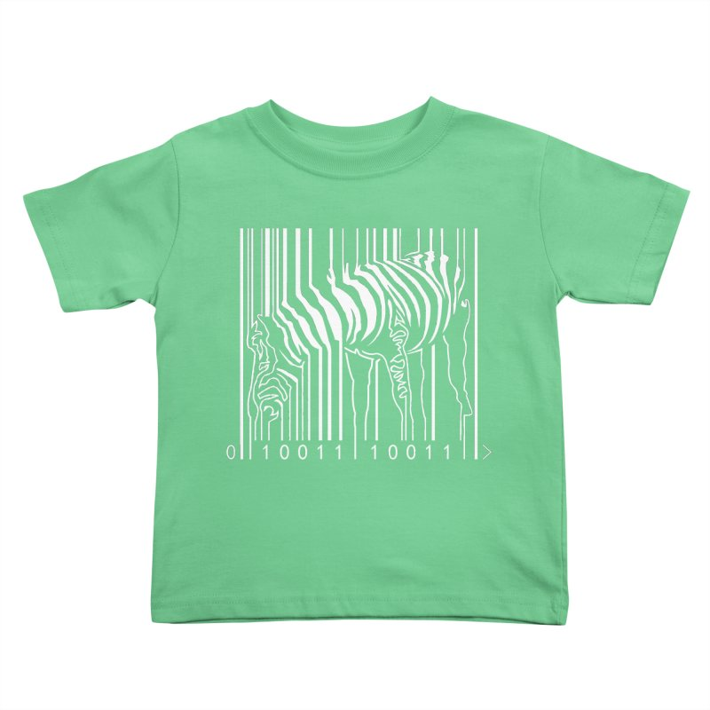 Zebra Barcode in Kids Toddler T-Shirt Grass by Mike's Artist Shop