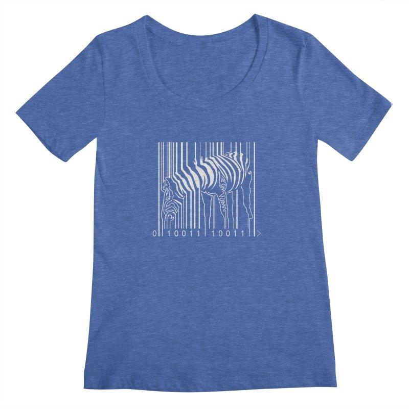 Zebra Barcode Women's Scoopneck by Mike's Artist Shop