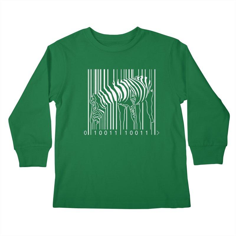 Zebra Barcode Kids Longsleeve T-Shirt by Mike's Artist Shop