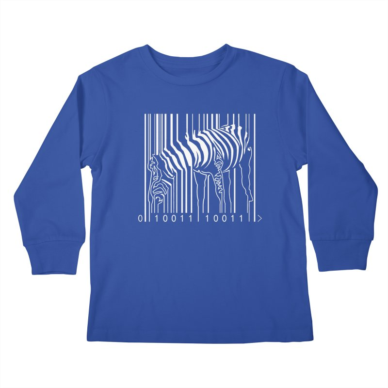 Zebra Barcode Kids Longsleeve T-Shirt by Mike's Artist Shop