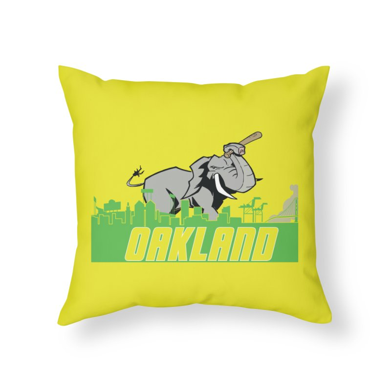 Oakland Home Throw Pillow by Mike Hampton's T-Shirt Shop