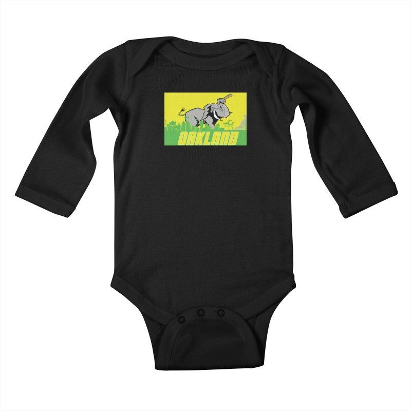 Oakland Kids Baby Longsleeve Bodysuit by Mike Hampton's T-Shirt Shop