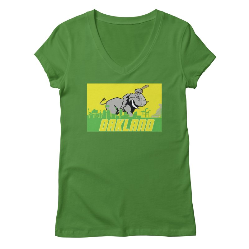 Oakland Women's Regular V-Neck by Mike Hampton's T-Shirt Shop