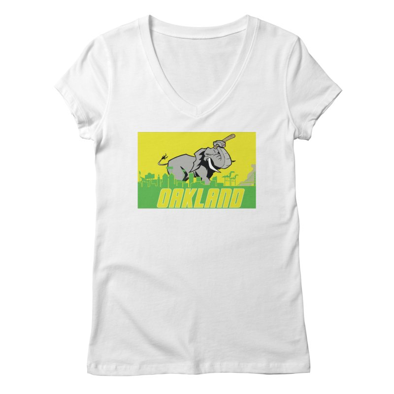 Oakland Women's Regular V-Neck by Mike Hampton's T-Shirt Shop