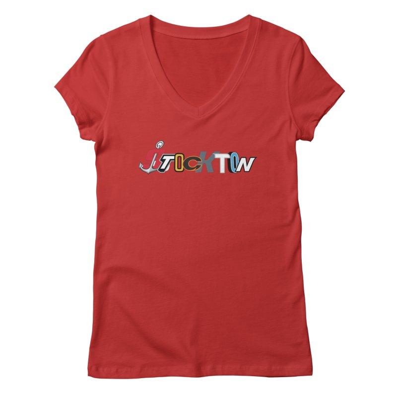 All Things Stockton Women's Regular V-Neck by Mike Hampton's T-Shirt Shop