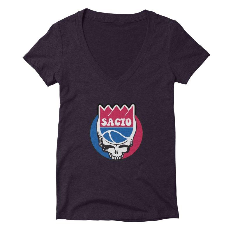 The Grateful Sacto Women's Deep V-Neck V-Neck by Mike Hampton's T-Shirt Shop