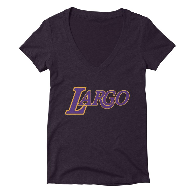 Laaaaargo Women's Deep V-Neck V-Neck by Mike Hampton's T-Shirt Shop