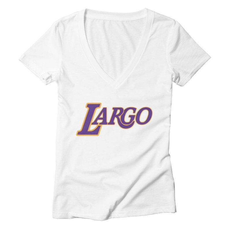 Laaaaargo Women's Deep V-Neck V-Neck by Mike Hampton's T-Shirt Shop