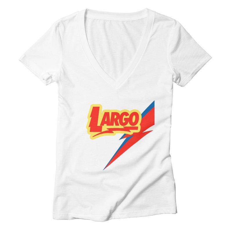 Largo Largo Women's Deep V-Neck V-Neck by Mike Hampton's T-Shirt Shop
