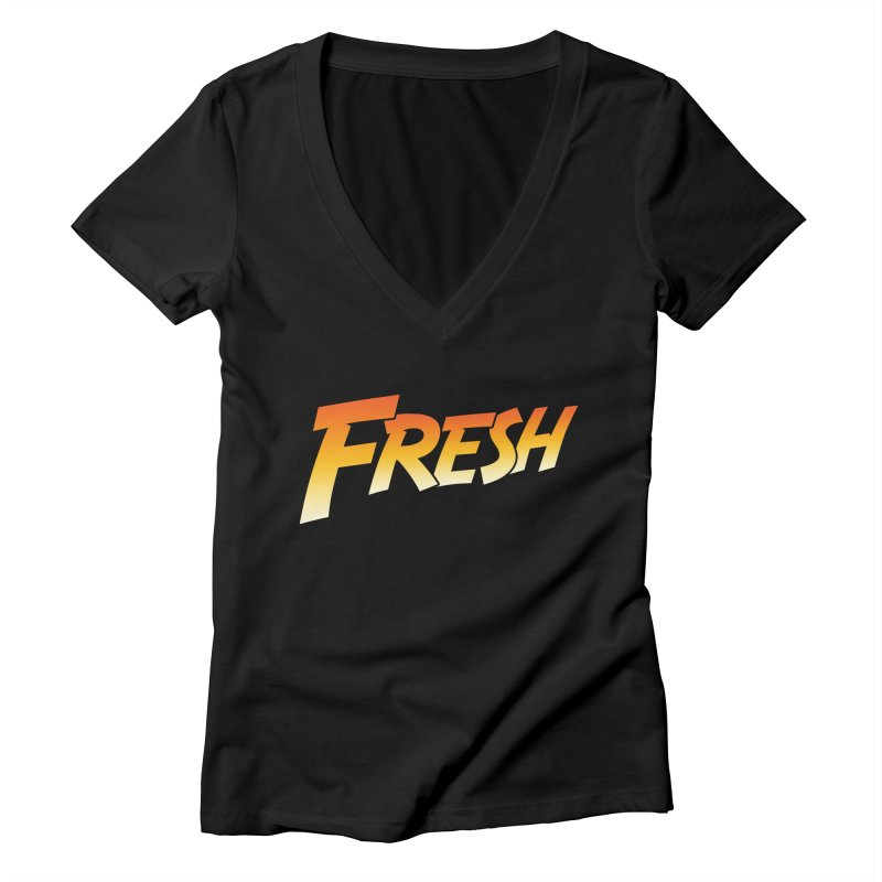 FRESH! Women's Deep V-Neck V-Neck by Mike Hampton's T-Shirt Shop