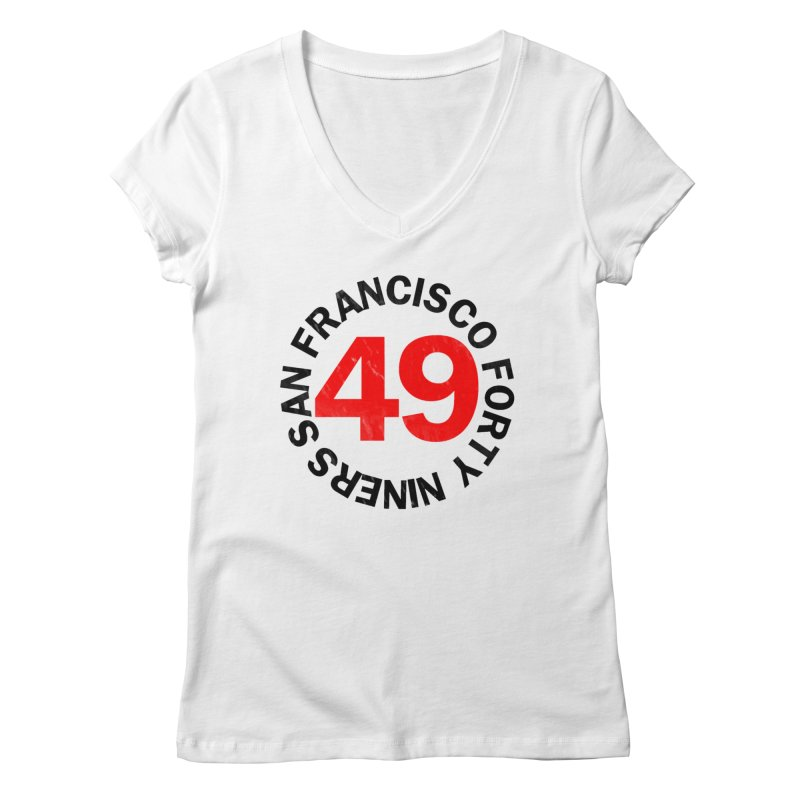 Red Hot Forty Niners Women's Regular V-Neck by Mike Hampton's T-Shirt Shop
