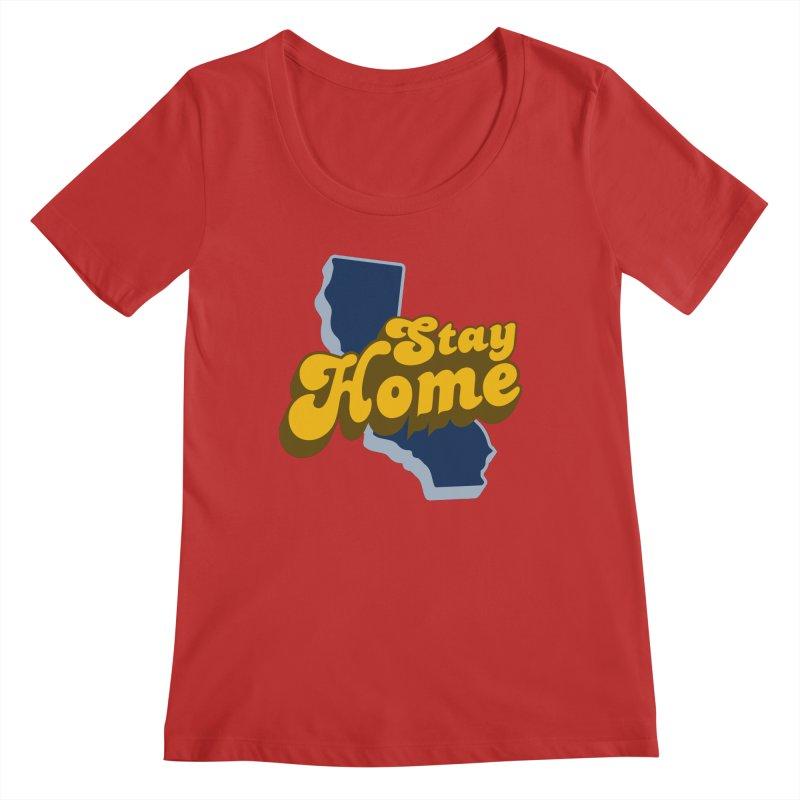 Stay Home, California Women's Regular Scoop Neck by Mike Hampton's T-Shirt Shop