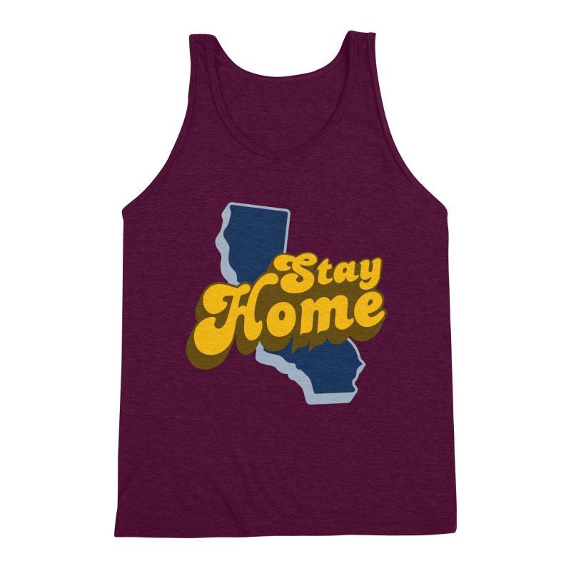 Stay Home, California Men's Triblend Tank by Mike Hampton's T-Shirt Shop