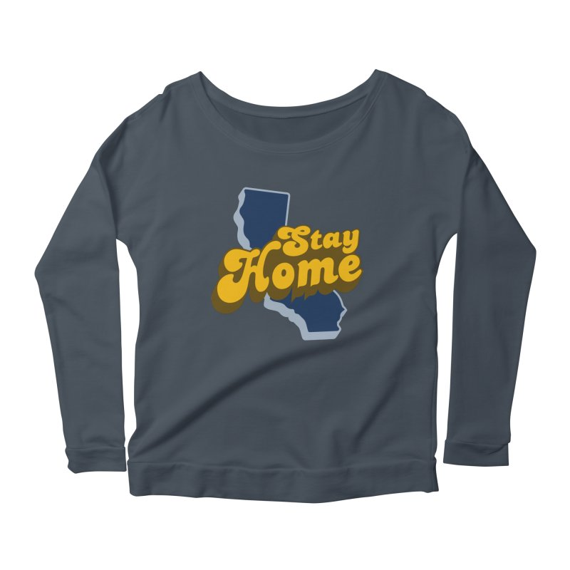 Stay Home, California Women's Scoop Neck Longsleeve T-Shirt by Mike Hampton's T-Shirt Shop
