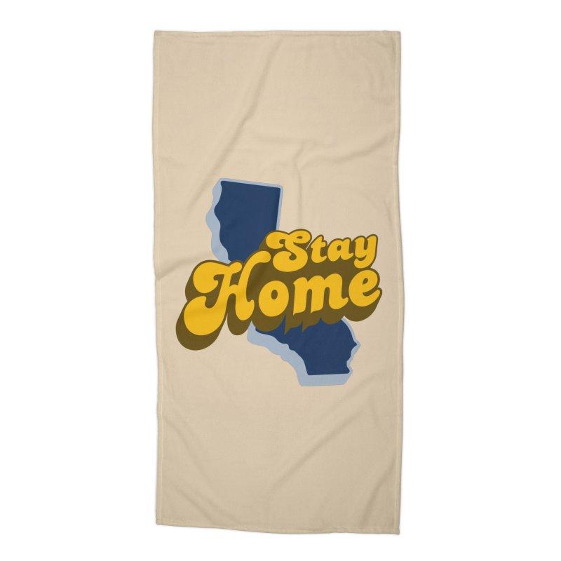 Stay Home, California Accessories Beach Towel by Mike Hampton's T-Shirt Shop
