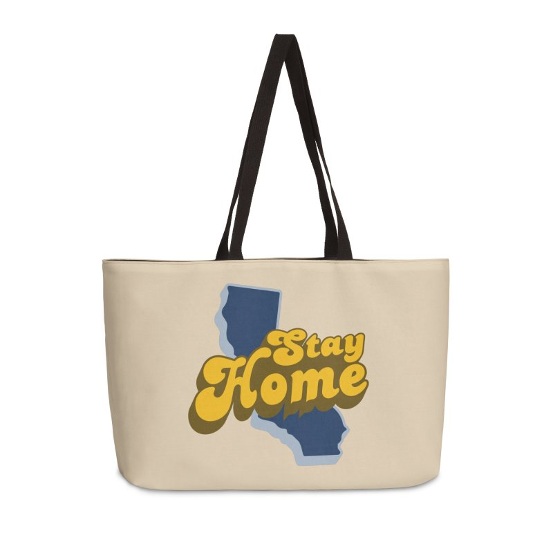 Stay Home, California Accessories Weekender Bag Bag by Mike Hampton's T-Shirt Shop